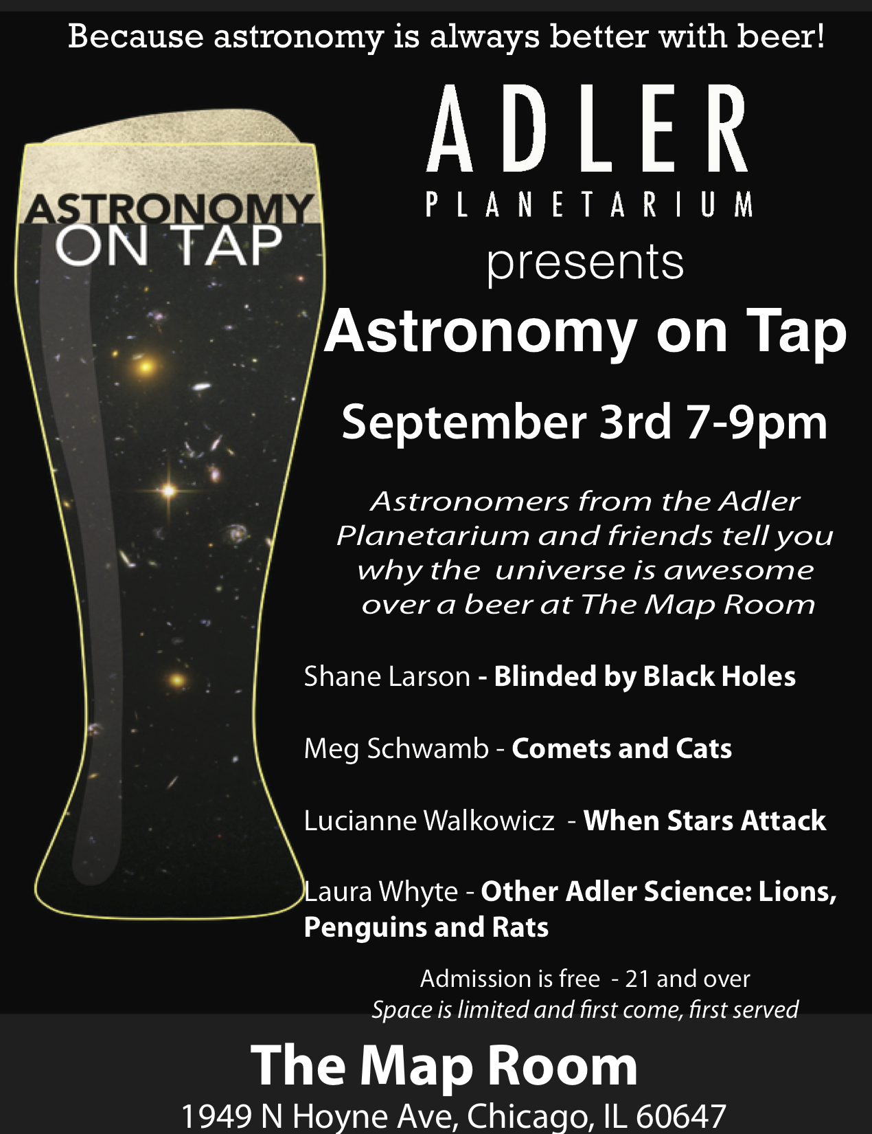 Adler Planetarium Presents Astronomy On Tap September