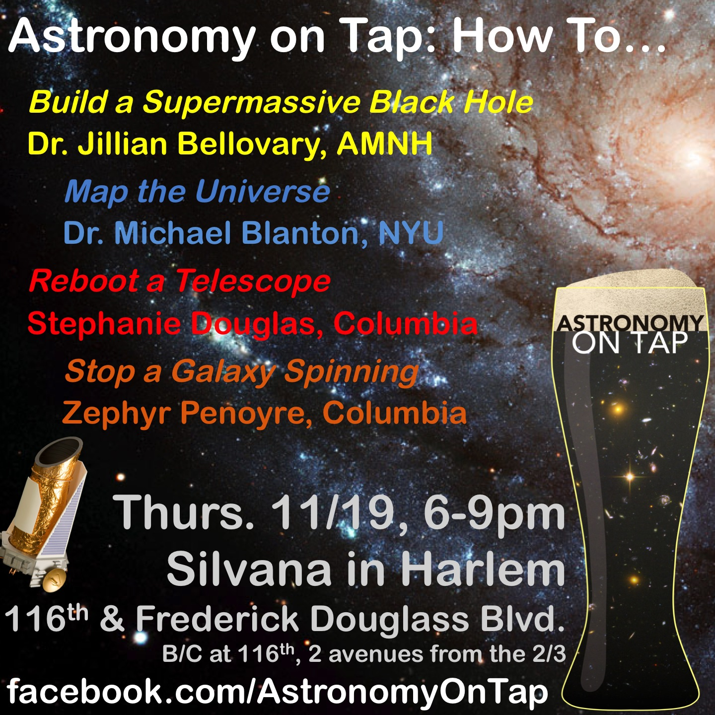 Astronomy on Tap: How To... Thursday, November 19 at 6 pm at Silvana in Harlem