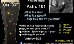 AoT NYC Astro 101: The Basics, Thursday June 30 at the Way Station in Brooklyn