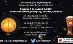 Astronomy on Tap Colorado Tuesday April 9, 2019 Gunbarrel Brewing Company, Boulder, Colorado