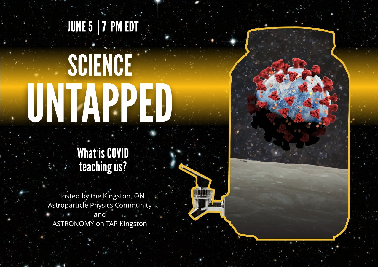 Poster for event showing a carafe silhouette with a Earth covered in Covid. Title is Science Untapped on June 5th at 7 PM EDT.