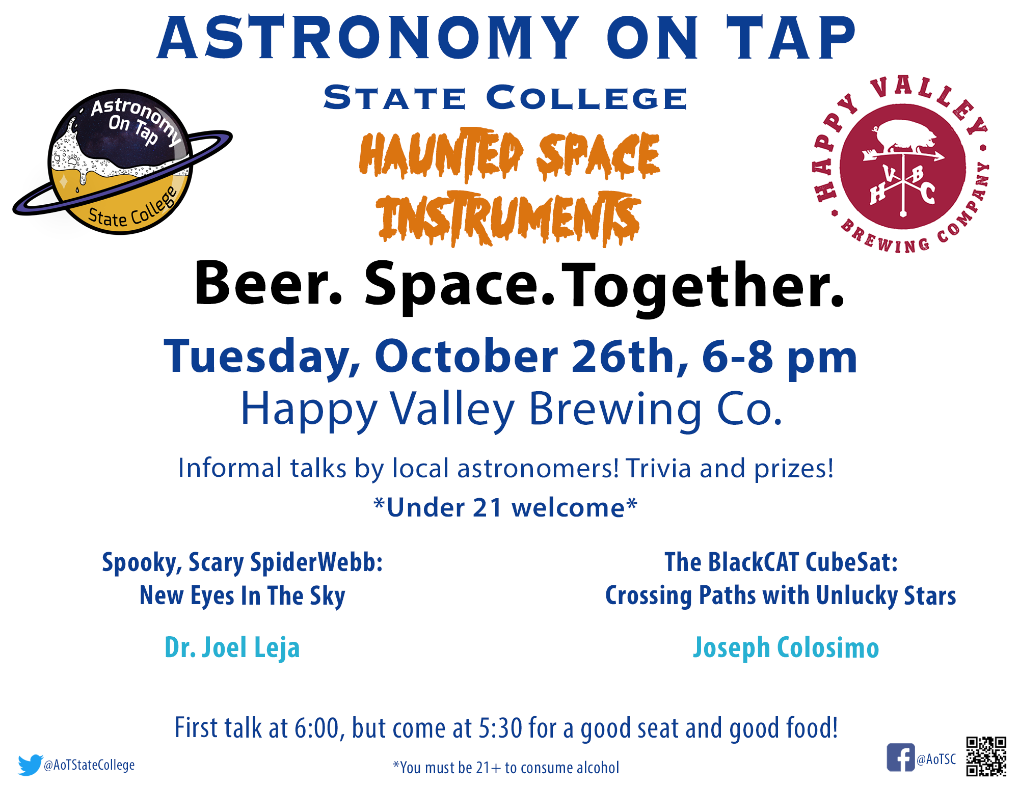 Astronomy on Tap State College: haunted space instruments. Join us on October 26 from 6-8 pm at Happy Valley Brewing Company.